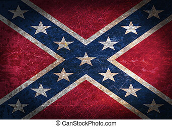 Old rusty metal sign with a flag - Confederate Flag