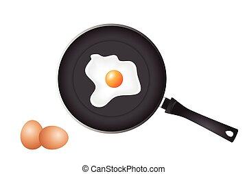 freír, cacerola, y, huevos,