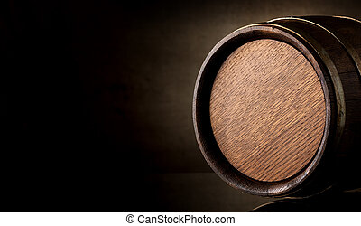 Barrel on brown - Wooden barrel on a background of brown...