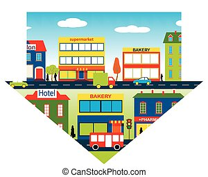 Set of buildings in the down pointing arrow - A small town...