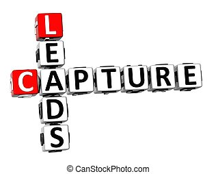 3D Crossword Capture Leads on white background