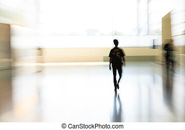 People in motion blur