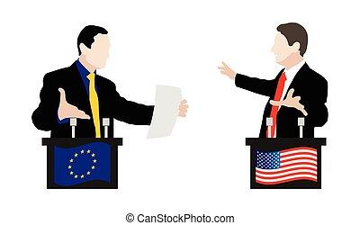 The debate between speakers. Rhetoric - Flag of the United...