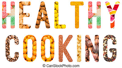 Healthy Cooking Word Concept Isolated Made From Food...
