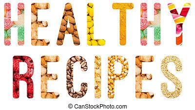 sano, recetas, palabra, concepto,