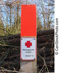 sos rescue place sign in the forest - sos rescue sign in the...