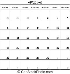 CALENDAR PLANNER MONTH APRIL 2015 ON TRANSPARENT BACKGROUND