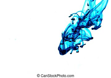 Blue Ink - Blue ink flowing through water, isolated on white...