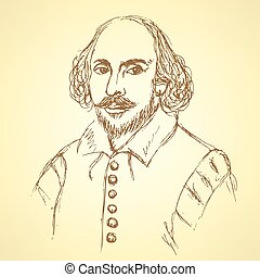 Sketch William Shakespeare portrait in vintage style, vector