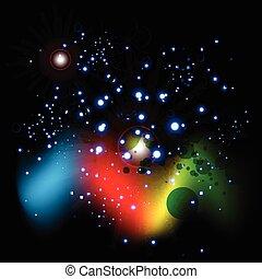 Colorful dotted dark background gru