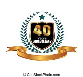 Celebrating 40 Years Anniversary - Laurel Wreath Seal with...