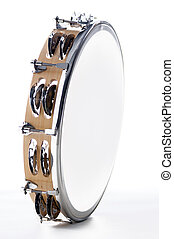 Tambourine Isolated Against White - A round shaped maple...