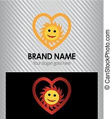 Heart icon and sun logo