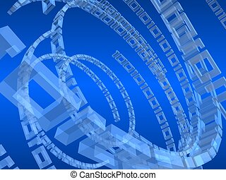 digital lines - 3d rendered illustration of a binary rings