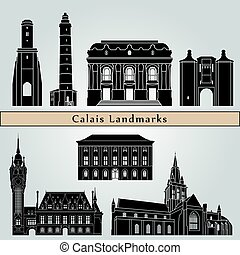 Calais landmarks and monuments isolated on blue background...