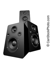 big speakers - 3d rendered illustration of black speakers