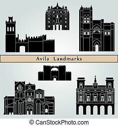 Avila landmarks and monuments isolated on blue background in...