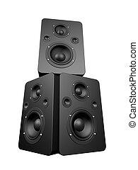 big speakers - 3d rendered illustration of black speakers