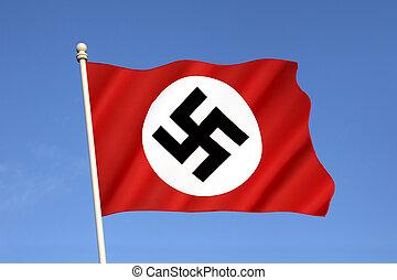 nazi, bandera, -, tercero, Reich, y, mundo, guerra, II,...