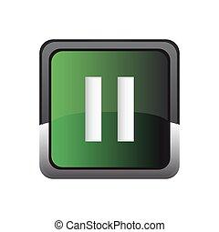 Pause icon button vector