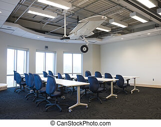 Interior, predios, escritório
