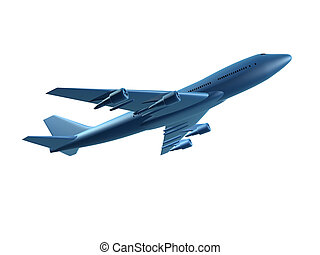 plane - 3d  rendered illustration of a blue aeroplane
