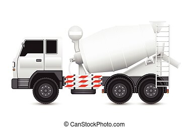 Truck - Illustration of Concrete truck isolated on white...