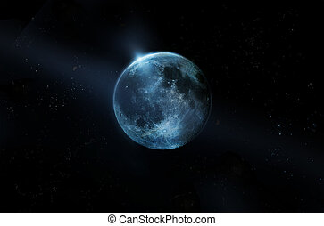 Błękitny, Pełny, księżyc, Na, Wszystko, gwiazdy, Na,...