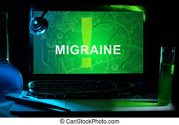 Migraine - Notebook with words Migraine, test tubes and...