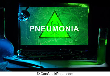 Pneumonia - Notebook with words Pneumonia, test tubes and...