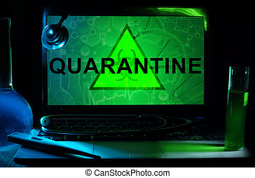 quarantine - Notebook with words quarantine, test tubes and...