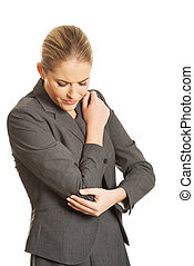 Woman with elbow pain - Beautiful woman with elbow pain