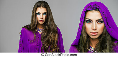 Two young sexy women in purple tunic Arabic - Beautiful...