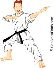 master of karate martial art - illustration of master of...