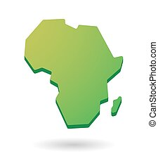 green Africa continent map icon - green isolated Africa...