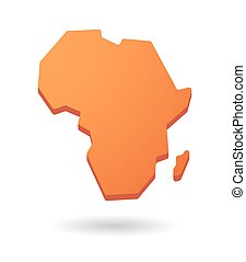 orange Africa continent map icon - orange isolated Africa...