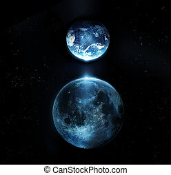 Błękitny, Pełny, księżyc, i, ziemia, Wszystko, gwiazdy,...