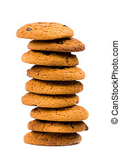 stack of oatmeal chocolate chip cookies isolated on white...