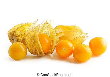 Physalis gooseberries on white background