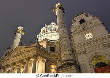 Karlskirche, Vienna at night - Karlskirche (Saint Charles...