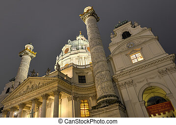 Karlskirche, Vienna at night - Karlskirche Saint Charles...