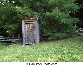 Outhouse - Old wooden outhouse on a rural farm