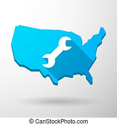 USA map icon with a monkey wrench - Illustration of an...