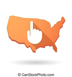 USA map icon with a hand - Illustration of an isolated USA...