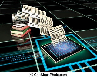 Digital Publishing - Book pages flying into a tablet...