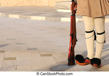 Evzon Soldier, Athens, Greece - Evzone soldier sanding with...