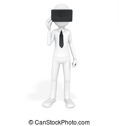 3d man with virtual reality goggles on white background