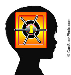 Child with Amnesia or Autism - Concept sign of traumatic and...