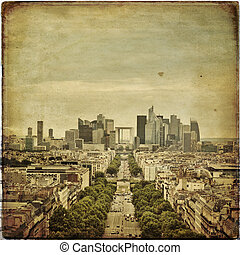 Paris - Panoramic view of Paris in vintage style