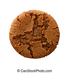 Ginger Snap Cookie - Aerial view of a single brown ginger...